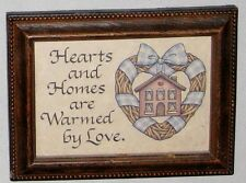 """Wood Frame 4 X 5 1/2"""" Sign HEARTS & HOMES ARE WARMED BY LOVE"""