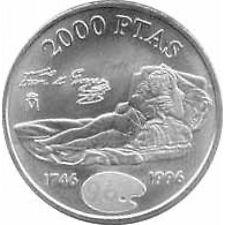 España Juan Carlos 2000 Pesetas 1996 de plata Maja Vestida Goya