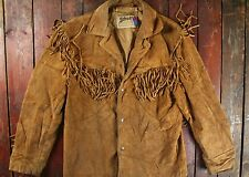 VTG SCHOTT WESTERN SUEDE LEATHER FRINGED RANCH JACKET COWBOY BIKER USA 40