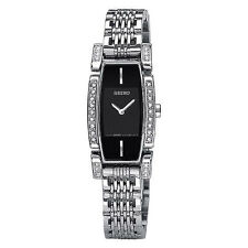 SEIKO DRESS BLACK DIAL 30 DIAMONDS ACCENT ST.STEEL LADIES WATCH SUJC51 NEW