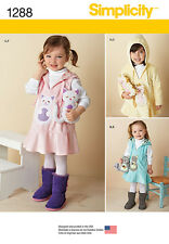 Simplicity Pattern 1288 TODDLERS' FLEECE DRESS OR JUMPER AND STUFFED ANIMALS