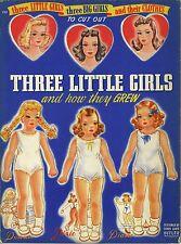 VINTAGE UNCUT 1940S THREE LITTLE GIRLS PAPER DOLL ~LOWE~ORG SZ~LASR REPRODUCTION