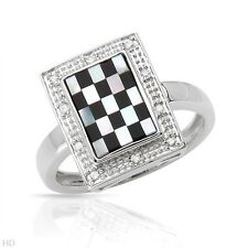 SOLID 10K White Gold GENUINE ONYX / Mother of PEARL Ring Sz 7 (O)
