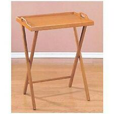 Folding Tv Tray Dinner Table Wooden Oak Home Stand Serving Snack Tea Portable