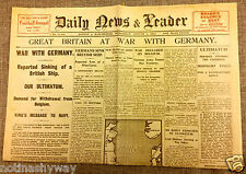 World War I Outbreak Newspaper Britain Declares War Nazi Germany II Trenches USA