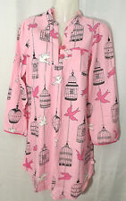 Nick & Nora Birdcage Doves Birds Flannel Pajama Night Shirt Gown Pink S Small