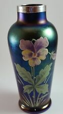 Kralik Loetz Iridescent Art Nouveau Pansies Vase Sterling Hallmarked Band