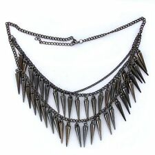 Punk Black Dangle Spike Rivet Tassels Multilayer Chain Necklace LW