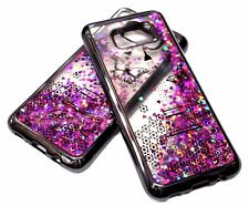 For Samsung Galaxy S8+ PLUS - Gray Eiffel Tower Hearts Glitter Liquid Water Case