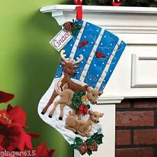Bucilla  DEER FAMILY Felt Christmas Wildlife Stocking Kit Snow 86502 OOP