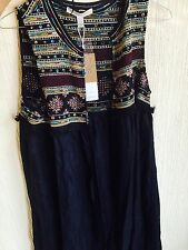 ZARA Navy Ethnic Embroidered Flowing Long Waistcoat Jacket Coat Medium M