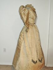 Victorian ca 1870's Ivory Silk 2Pc Dress w Beading SM