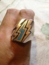 1980's Vintage Large Stainless Steel Size 9 Men's Lighning Bolt Ring