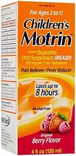 2 Pack Childrens Motrin Ibuprofen Oral Suspension Pain Reliever Berry 4oz Each