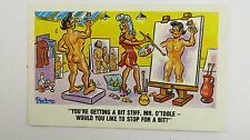 Risque Funny Postcard Female Artist Big Boobs Nude Male Model Life Drawing Art