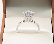 14k White Gold 3.00 CT ROUND BRILLIANT CUT  SOLITAIRE ENGAGEMENT RING