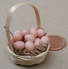 1:12 Scale Basket Of  Brown Eggs Dolls House Miniature Garden Food Accessory