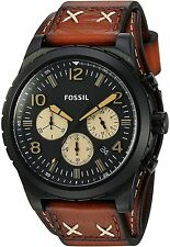 Fossil CH3066 Men's Oakman  Black Dial Luggage Leather Band Chronograph Watch