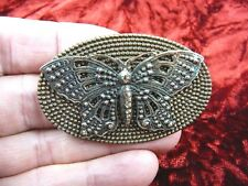 (b-but-203) filigree Butterfly flying insect oval pin pendant brooch love lover