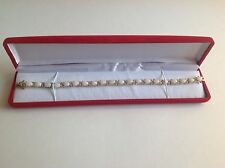 White Indian Opal & Diamond Bracelet  13.19 CTW 18k GP Over Sterling Silver