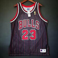 100% Authentic Michael Jordan Champion NBA @ 50th Bulls Pinstripe Jersey 48 L XL