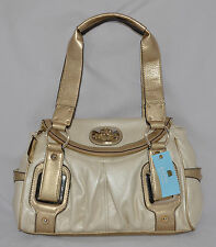 $99 Kathy Van Zeeland Metallic Bone Four Eyes Flap Satchel Bag Purse Heart Crown