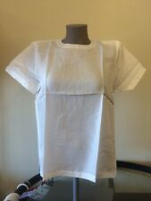 NEW PM Petite 100% SILK  WHITE Blouse Short Sleeve Top nwt ladies Jewel Neck