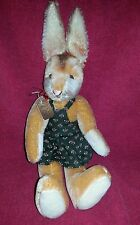 Vintage West Germany Easter Bunny Rabbit Mohair Jointed Grisly with Tag 16""