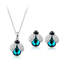 18K WHITE GOLD PLATED & GENUINE SWAROVSKI CRYSTAL EMERALD NECKLACE/EARRING SET