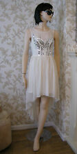 14 LIPSY DRESS CREAM SEQUIN DIP HEM FLOATY CHIFFON WEDDING SUMMER BRIDESMAID
