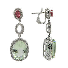 14K WHITE GOLD PAVE DIAMOND PINK TOPAZ GREEN AMETHYST DANGLING DANGLE EARRINGS