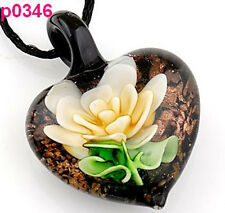 handmade Flower leaf lampwork murano art glass beaded pendant necklace p0346