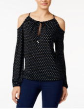 Michael Kors Davis Dot-Print Cold-Shoulder Peasant Top Size XL