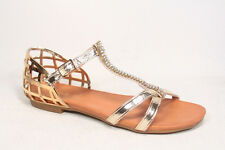 Women's Fashion Rhinestone T-Strap Flat Heel Buckle Sandal Shoes Size 5.5 - 10