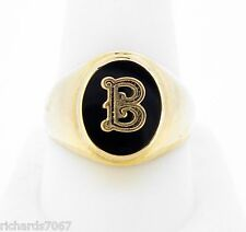 Ring 10k yellow gold initial B oval black onyx finger size 10