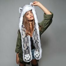 "NEW SpiritHoods SPIRIT HOOD ""HUSKY"" Full Length Faux Fur Hat -UNISEX"