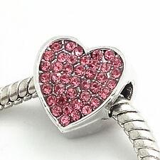 1pcs Silver heart European Charm Beads Fit 925 Necklace Bracelet  jewelry SH407