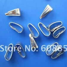 Wholesale 500pcs Nickel plated snap on bail loops Pendant bails findings Jewelry
