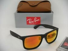 NEW AUTHENTIC RAY-BAN JUSTIN RB 4165 622/6Q 55MM RUBBER BLACK / ORANGE MIRROR