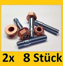 8 Stück Stehbolzen M8x40 + Klasse 8 Kupfermutter M8 Krümmermutter