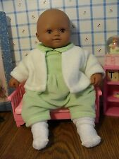 "12"" DARK SKIN CLOTH & VINYL BABY DOLL by FRENCH Co BERCHET W/ORIGINAL CLOTHES"
