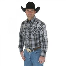 Wrangler Mens Logo Gray Black Plaid Western Snap Long Sleeve Shirt *NWT* Medium