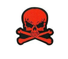 Skull red biker patch backpack iron on/sew pirate backpack motorcycle