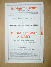 HIS MAJESTY'S THEATRE PROGRAMME- DU BARRY WAS A LADY