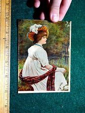 Lovely Lady Feather Hat Flowing Dress Scarf Meadow Pond Scene Victorian Card #M
