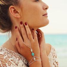 Vintage femmes multi chaîne tassel bracelet esclave anneau main harnais cadeau