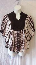 Women Clothing Tie Dye Poncho Blouse Top Shirt Brown White Free Size