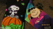 SNOOPY HALLOWEEN 2 PAIR SOCK GIRLS SIZE 7 1/2- 3 1/2 SNOOPY & LUCY NEW
