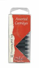 12 MANUSCRIPT INK CARTRIDGES ASSORTED COLOURS FOUNTAIN PEN RED BLACK MC0461AS