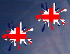 2x SPLAT UNION JACK/FLAG Colour Funny Car/Van/Window/Bumper Printed Stickers